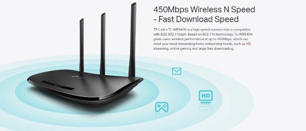 TL-WR940N Router Wireless 4 Port N 450 Mbps 3 Antennas .redlinesys.com,